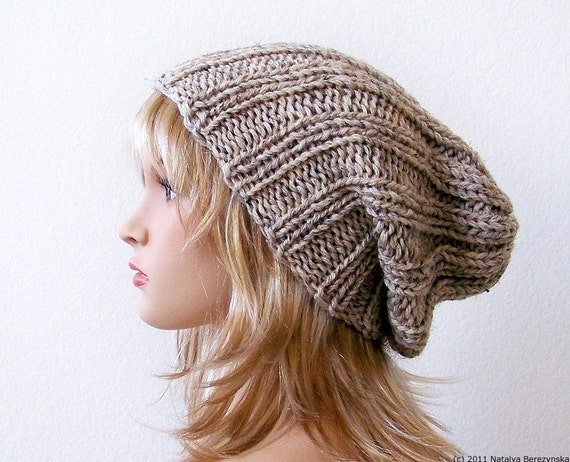 Knitting PATTERN Knit Slouchy Beanie Pattern Slouchy Hat  77cb7c18623
