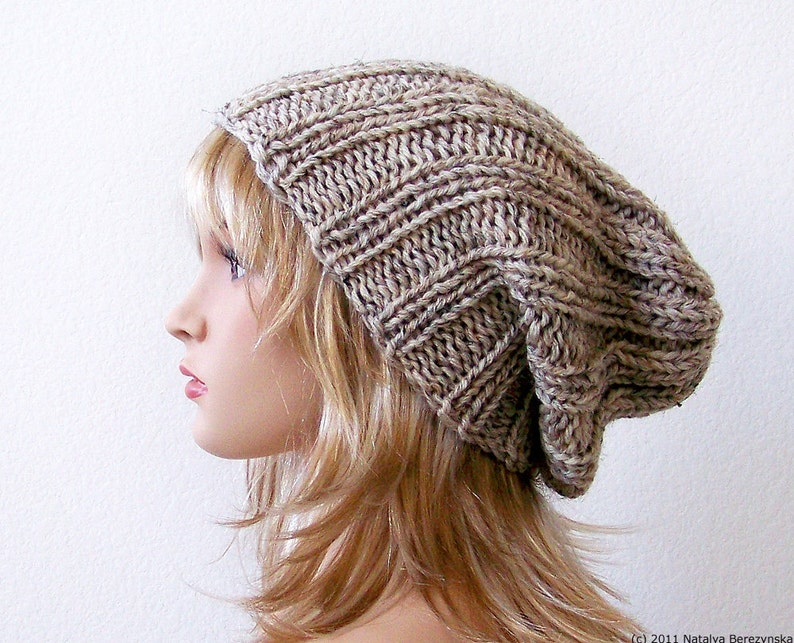 Knitting PATTERN Knit Slouchy Beanie Pattern Slouchy Hat  6f4e0cdf785