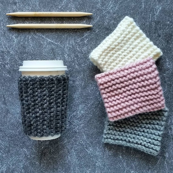 Knit Coffee Cozy Pattern Knitting Pattern Knit Coffee Sleeve Etsy