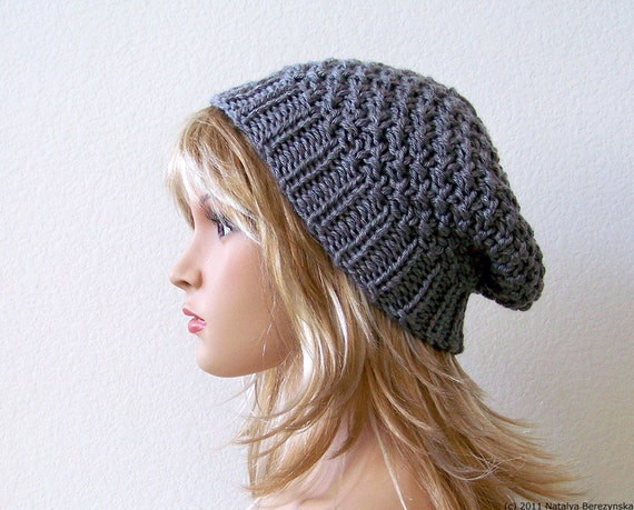 Knit Slouchy Hat Knit Slouchy Beanie Grey Knit Hat Grey  a3c9d76dcbb