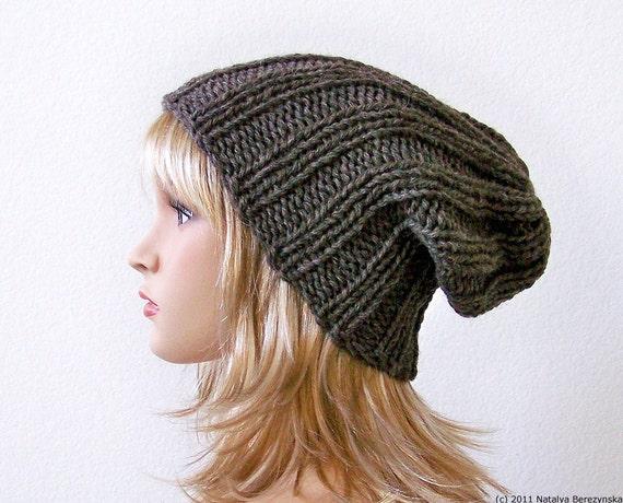 Knitting Pattern Knit Slouchy Beanie Pattern Slouchy Hat Etsy