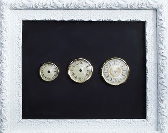 Vintage German Metal Clock Faces with Bezel and Glass Cover - New Old Stock - Trio of Clock Faces - Instant Collection