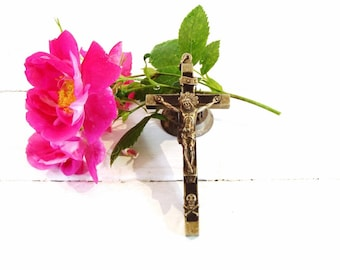 Vintage French Metal Crucifix, Rare Nuns Crucifix, Pendant