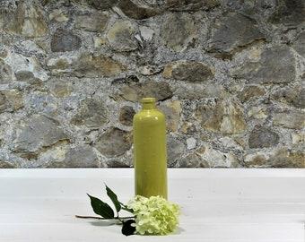 Vintage Stoneware Bottle - Chartreuse Bottle - Vintage Pottery - Yellow Green Vase - Vintage Crock