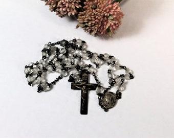 Vintage Rosary - Glass Beads - Crucifix - Prayer Beads - Patina