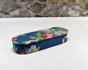 Vintage Fabric Covered Dresser Box - Oval Storage Box - Vintage Vanity Box