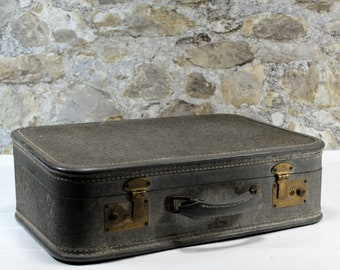 Vintage Gray Suitcase - Vintage Luggage - Travel - Photo Prop - Storage