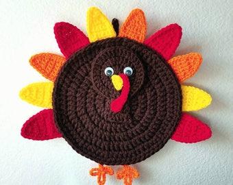 Crochet Turkey Pot Holder Hot Pad - Thanksgiving Kitchen Decor - Wall  Decoration 2680ad1a03d7