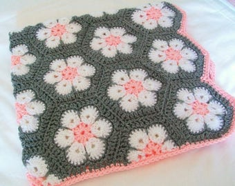 Baby Girl Blanket Crochet Floral Blanket Pink and Gray Grey Baby Gift Baby Shower Gift Nursery Decor