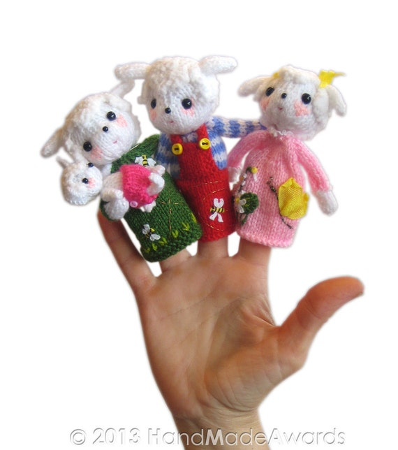 Lambs Family Finger Puppets Pdf Email Knit Pattern Etsy