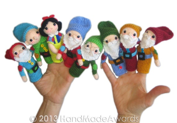 Snow White And The Seven Dwarfs Finger Puppets Pdf Email Knit Etsy