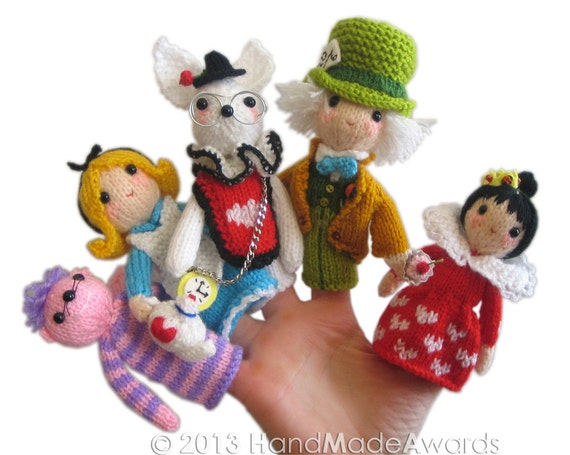 Alice In Wonderland Finger Puppets Pdf Email Knit Pattern Etsy