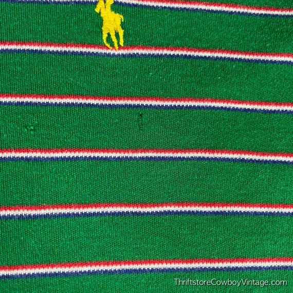 Vintage 80s Ralph Lauren Polo Shirt green striped… - image 3