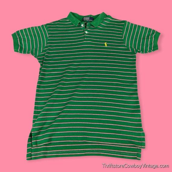 Vintage 80s Ralph Lauren Polo Shirt green striped… - image 1