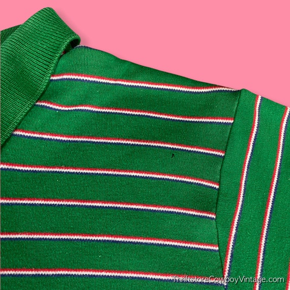 Vintage 80s Ralph Lauren Polo Shirt green striped… - image 2