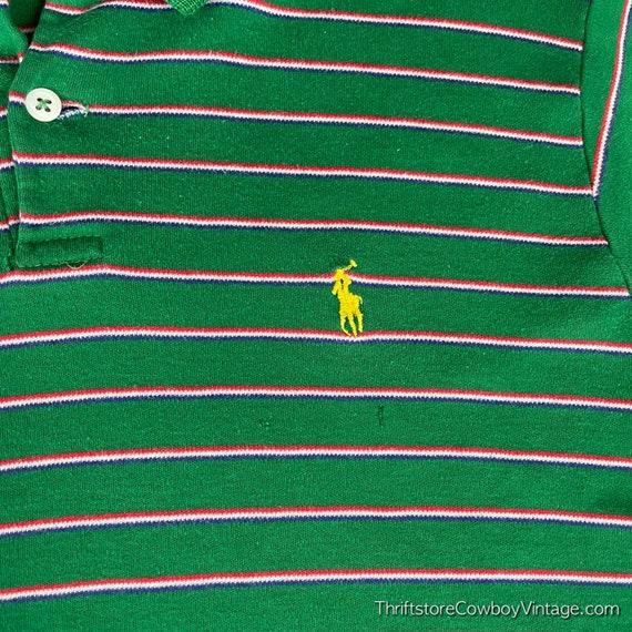 Vintage 80s Ralph Lauren Polo Shirt green striped… - image 4