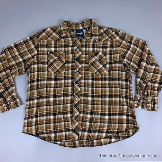 90s Wrangler Blue Plaid Pearl Snap Western Shirt size LARGE ~ 19456