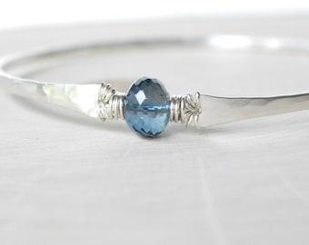 London Blue Topaz Bracelet, Sterling Silver Hammered Bangle Bracelet, 4 Carat Topaz, December Birthstone, Smoky Blue Gemstone Jewelry