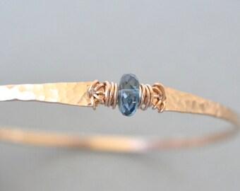 London Blue Topaz Bracelet December Birthstone Blush Rose Gold Hammered Bangle Bracelet Topaz Bangle Rose Gold Filled
