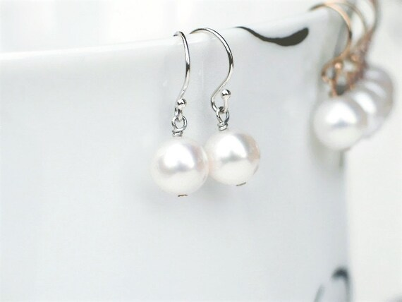 Petite Peach Freshwater Oval Pearl Earrings 7-8mm