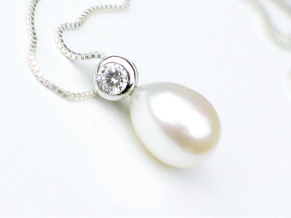 Bridal Jewelry Gift Reday to Ship Teardrop Pearl Earrings Pendant Necklace Set CZ Pav\u00e9 14k Gold Plated White Freshwater Drop Pearls