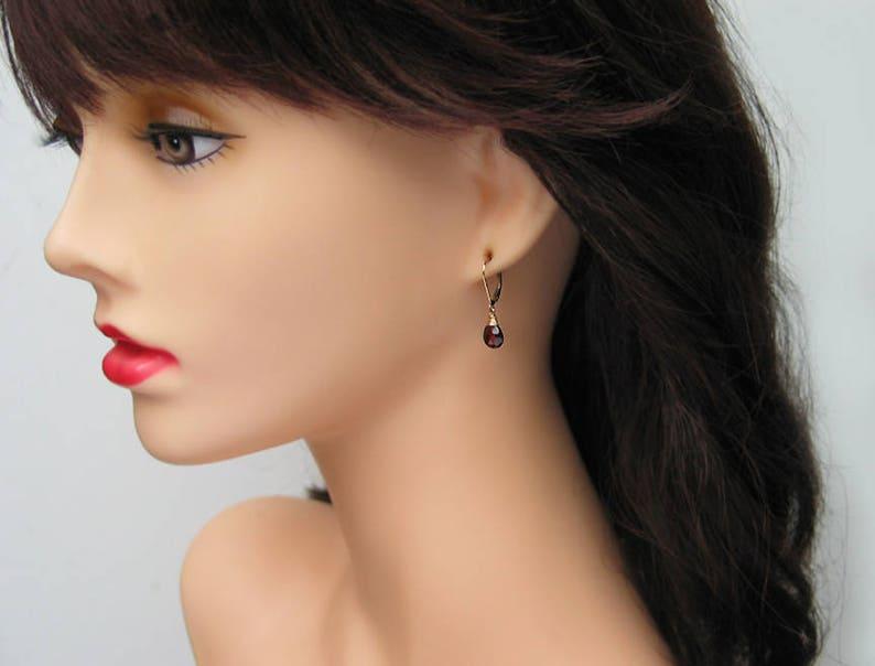 14k Gold Filled January Birthstone Rose Gold Filled Dangle Leverback Birthday Gift Red Garnet Pear Drops Garnet Teardrop Earrings