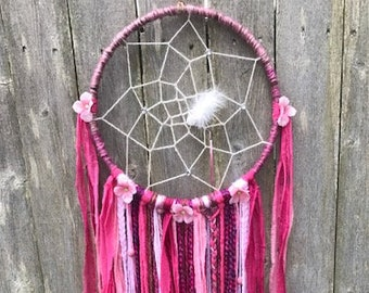 Boho Chic Dream Catcher With Dainty Flowers/Pinks/Nursery/Tapestry/Wall Hanging
