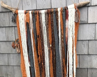 Boho Large Driftwood Yarn Tapestry Wall Hanging Neutral Colors Positive Vibes