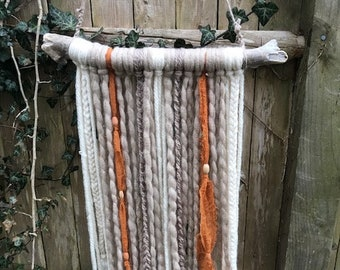 BoHo Handmade Yarn Tapestry Wall Hanging Neutral Colors