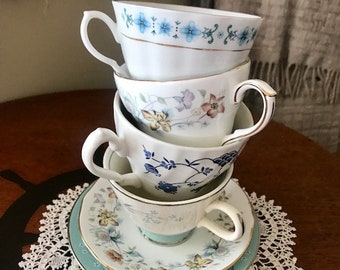 Vintage China Tea Cups Mismatched set of 4