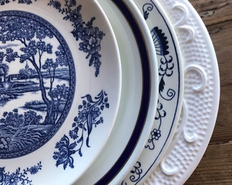 Vintage Dinner Plates Blue and White Mismatched, Nautical, Wedding, Shower, Parties, Farmhouse Tea Party