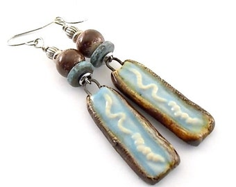 Handmade Earrings, Ceramic Earrings, Blue and Brown Earrings, Rustic Earrings, Wire Earrings, Boho Chic Earrings, Artisan Earrings, Blue
