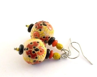 Handmade Ladybugs and Flowers Earrings, Golem Studio Earrings, Red Orange Black and Yellow Earrings, Silver Earrings, Wire Earrings, E009