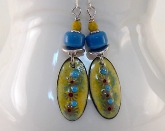 Handmade Yellow and Blue Earrings, Enameled Earrings, Silver Earrings, Yellow Earrings, Artisan Earrings, Boho Earrings, Silver, AE173