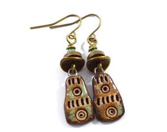 Handmade Brown Stoneware Earrings, Ceramic Earrings, Boho Earrings, Brown and Tan Earrings, Brass Earrings, Artisan Earrings, OOAK, AE154