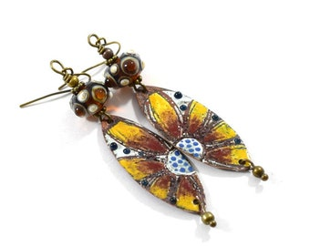 Handgemachte Sonnenblume emaillierten Ohrringe, braun und Gold, Boho Ohrringe, Ohrringe, Sonnenblumen Ohrringe, Ohrhänger, AE003
