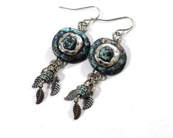 Blue and Silver Swirly Earrings, OOAK Earrings, Turquoise Earrings, Tribal Earrings, Artisan Earrings, Boho Earrings, Rustic Earrings, AE157
