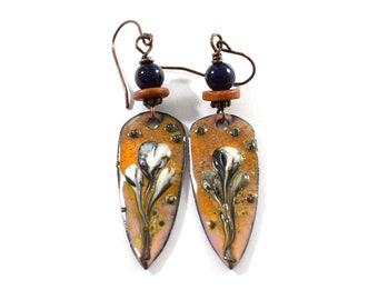 Artisan Copper Lily Teardrop Enameled Earrings, Boho Enameled Earrings In Orange, Black, White and Copper, Dangle Earrings For Everyday Wear