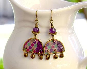 Bohemian Half Round Artisan Brass Earrings, Chandelier Earrings For Everyday Wear, Dangle Earrings In Purple, Green and Antique Brass