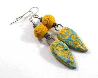 Handmade Earrings, Turquoise and Yellow, Flower Earrings, Boho Chic Earrings, Polymer Earrings, Yellow Earrings, Turquoise Earrings, AE225