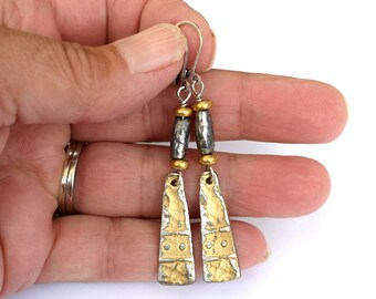 Artisan Silver Pewter Earrings, Boho Pewter Earrings For Everyday Wear, Dangle Earrings In Yellow, Pewter and Silver
