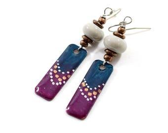 Handmade Teal Plum and Gray Earrings, Paint and Resin Earrings, Artisan Earrings, Boho Earrings, Silver Earrings, Summer Earrings,  AE231