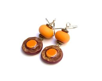 Orange and Brown Artisan Silver Earrings, Boho Earrings In Orange and Brown, Small Earrings For Everyday Wear