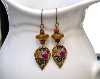 Artisan Brass Floral Teardrop Earrings, Boho Paper Artisan Brass Earrings For Everyday Wear, Dangle Earrings In Red, Yellow, Brown and Tan