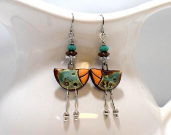 Artisan Silver Ceramic Bird Earrings, Boho Bird Earrings For Everyday Wear, Dangle Earrings In Orange, Turquoise and Brown