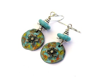 Pewter and Turquoise Flower Earrings, Boho Pewter Earrings For Everyday Wear, Dangle Earrings In Turquoise, Pewter and Silver