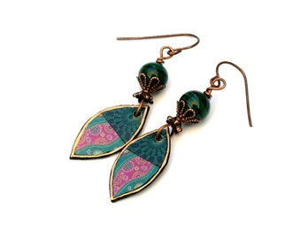 Paisley Pink and Green Marquise Earrings, Boho Paper Artisan Copper Earrings For Everyday Wear, Dangle Earrings In Pink, Green and Copper