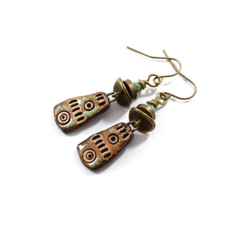 Brown and Tan Ceramic Stoneware Earrings Antique Brass Artisan Style Earrings AE154
