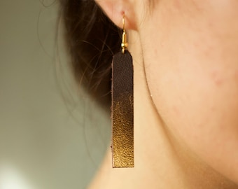 Cocoa Dipped Genuine Leather Earrings Hand Painted
