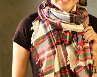 Cheery Plaid Blanket Scarf